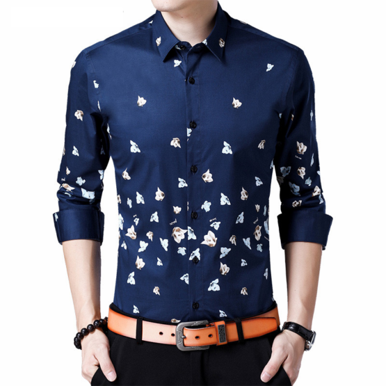 COODRONY Mens Butterfly Pint Shirt - Long Sleeve