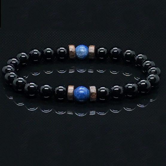 Mens lava bead bracelet, Hematite jewelry