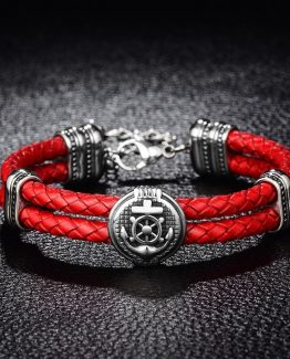 Double Braided Leather Rudder Bracelet