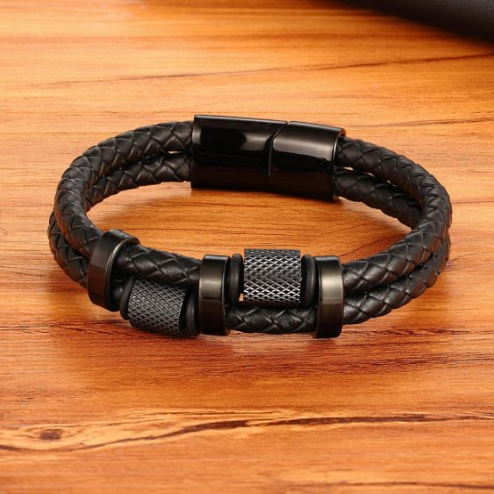Stainless Steel And Leather Mens Bracelet