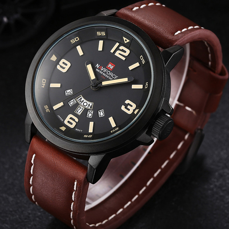image date leather waterproof quartz mens clock watches relogio luxury fashion watch products sport gold male brand curren s product men mascilino