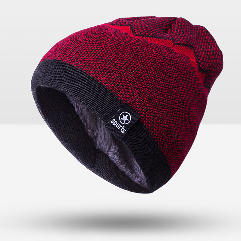 Patchwork Pattern Knitted Beanie Skullies Capthatt