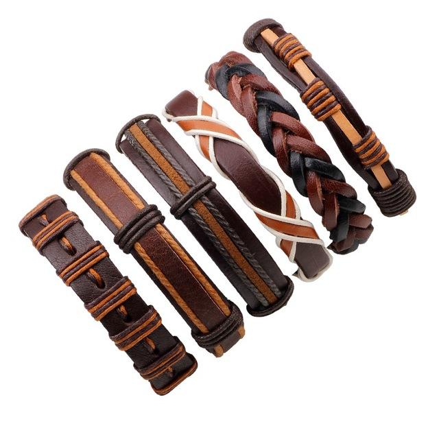 Leather Bracelet Men Multilayer