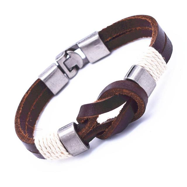 Vintage Bowknot Wrap Bracelet Mens Jewelry Zinc Alloy Charm Genuine Leather