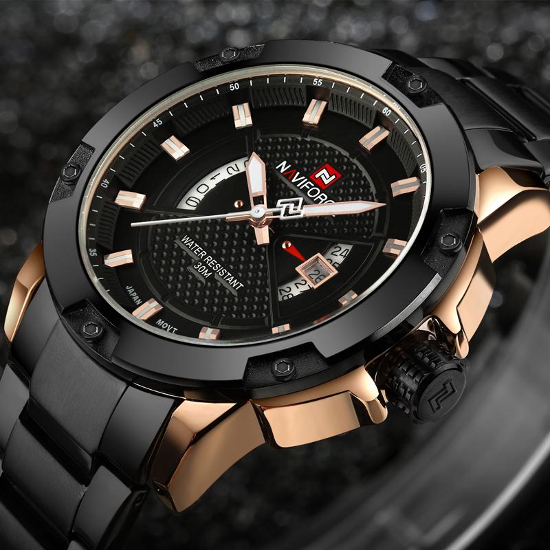 Mens Luxury Brand Watch Naviforce Stainless Steel Mens Military