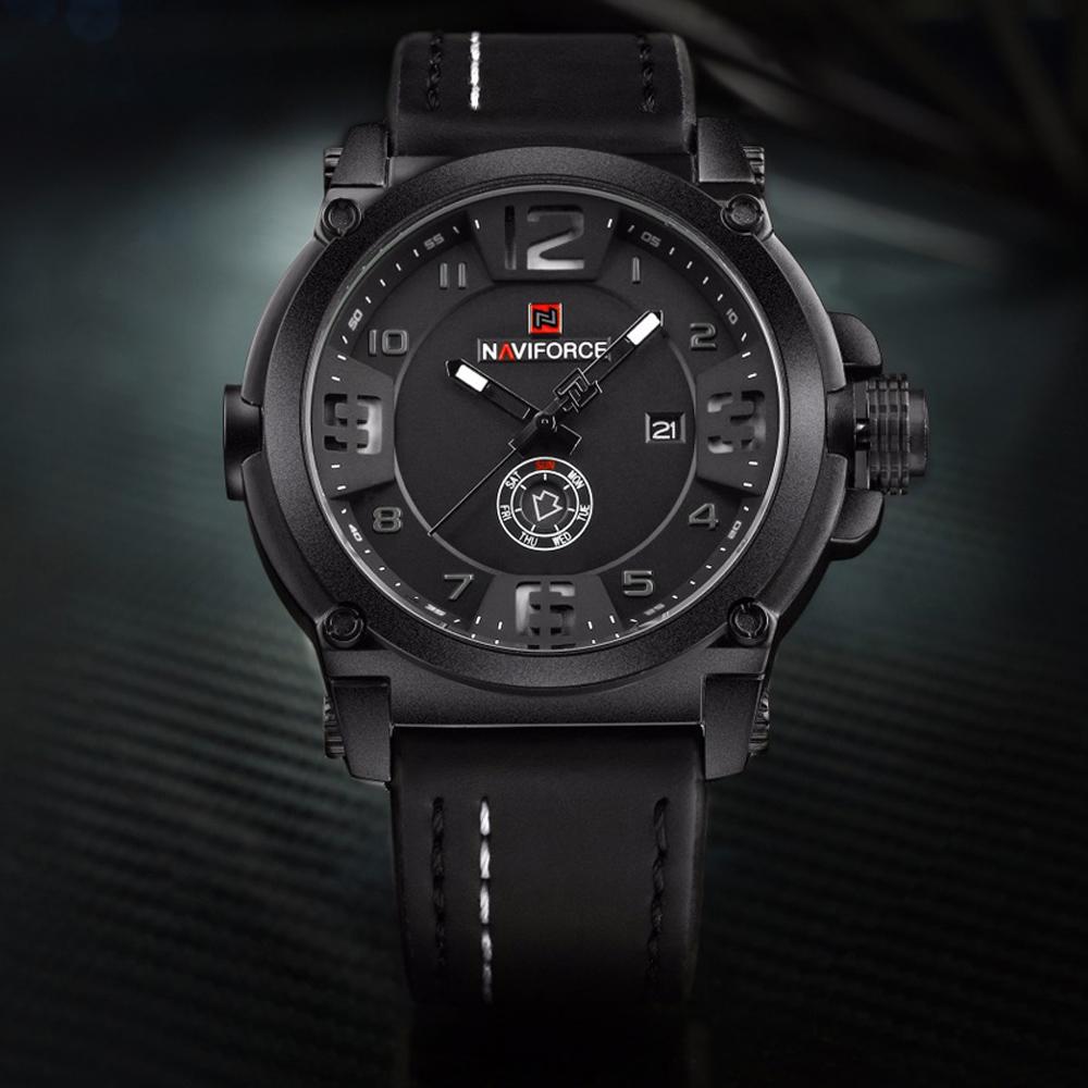 naviforce leather strap waterproof wristwatch. Black Bedroom Furniture Sets. Home Design Ideas