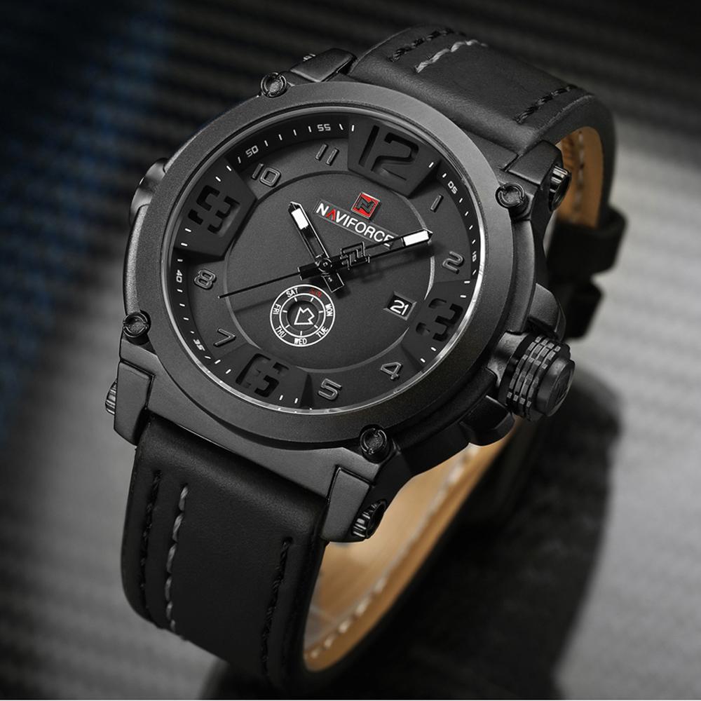 Naviforce mens watches top brand luxury sport quartz watch leather strap clock men waterproof for Watches brands for men