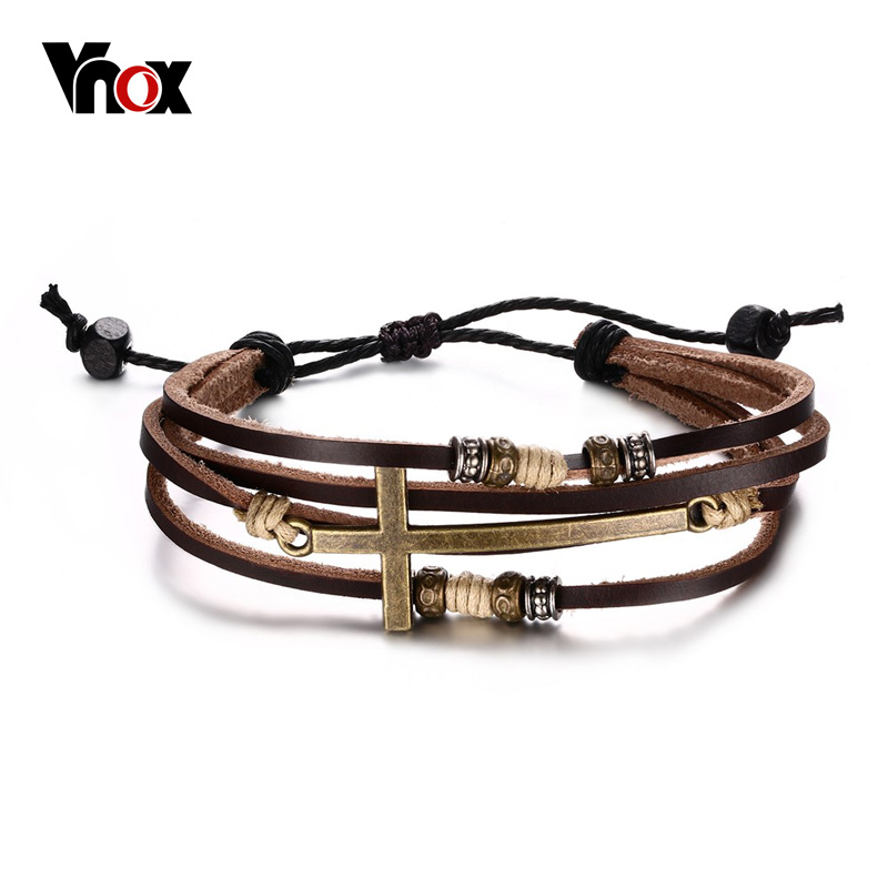 Cross Charm Bracelet: Vnox Leather Cross Bracelets; Bangles For Men, Adjustable