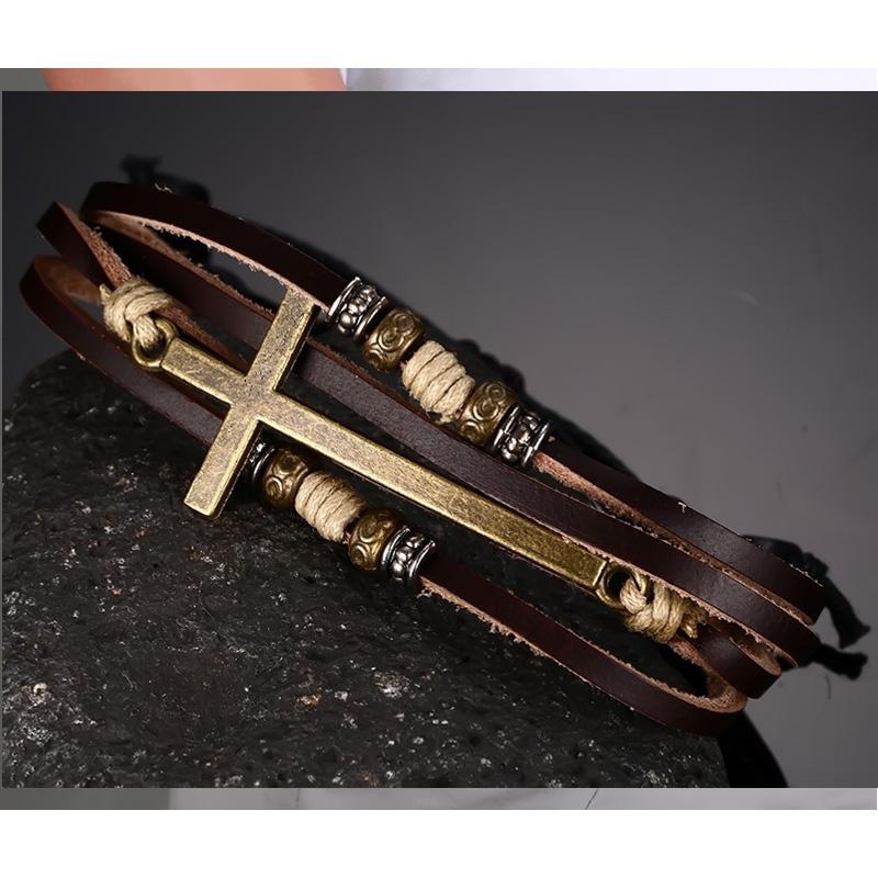 Vnox Leather Cross Bracelets Bangles For Men Adjule Bohemia Rope Chain Bracelet