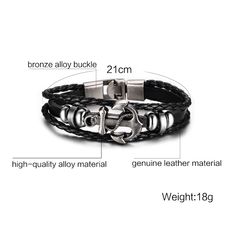 vnox vintage anchor bracelet black leather charm bracelets men jewelry party gift. Black Bedroom Furniture Sets. Home Design Ideas