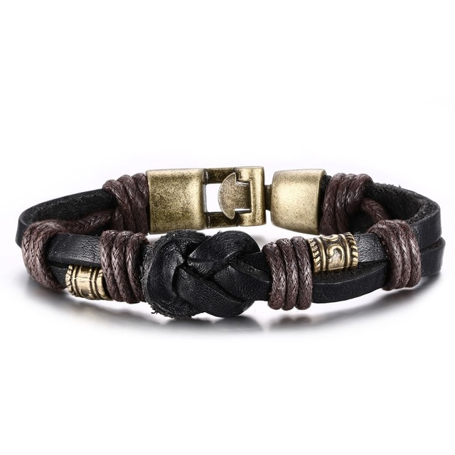 Vnox Vintage Leather Bracelet Bronze Alloy Buckle Clical Style Easy Hook For Men