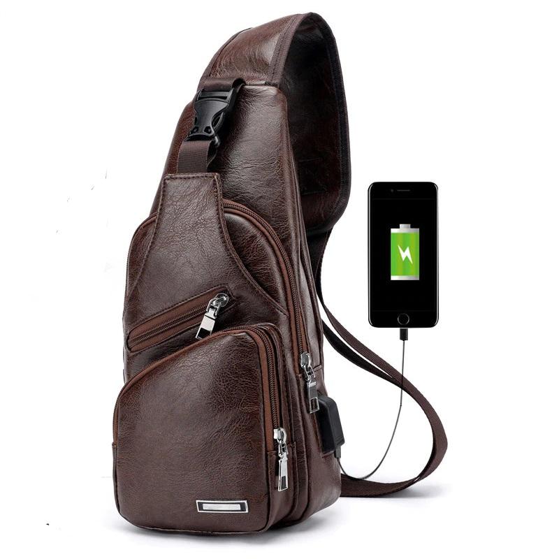 Men/'s Shoulder Bag Chest Pack Nylon Cross-body Handbag USB Headphone Jack Pouch
