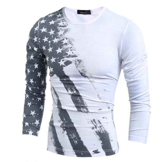 Flag Printed Distressed Long Sleeve T-shirt