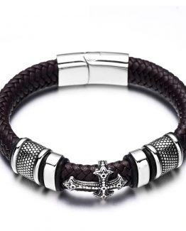 Steel Faith Braided Mens Leather Bracelets