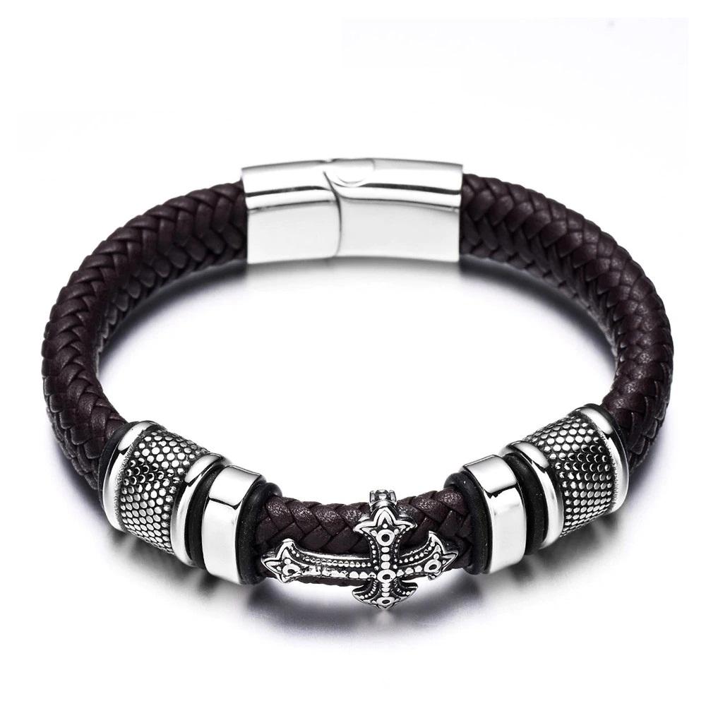 Braided Leather Cross Bracelet for Men