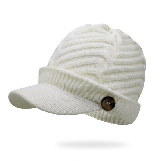 Knitted Baseball Cap   Beanie Hat   Wool Cap with Visor