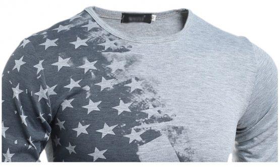 Flag Printed Distressed Long Sleeve T-shirt