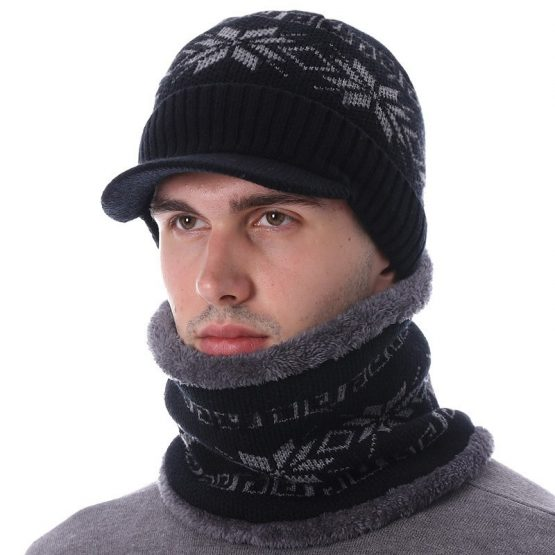 AETRUE Men's Knitted Hat And Scarf Set