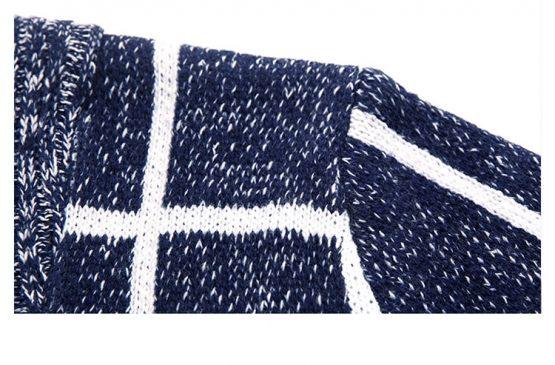 Kingsei Mens Plaid Wool Cardigan, Slim Fit & Long Sleeve