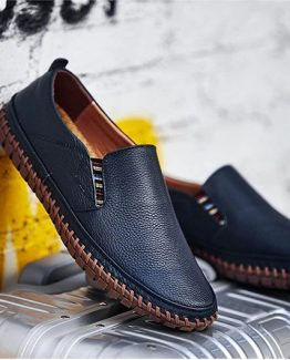 Blue leather mens loafers