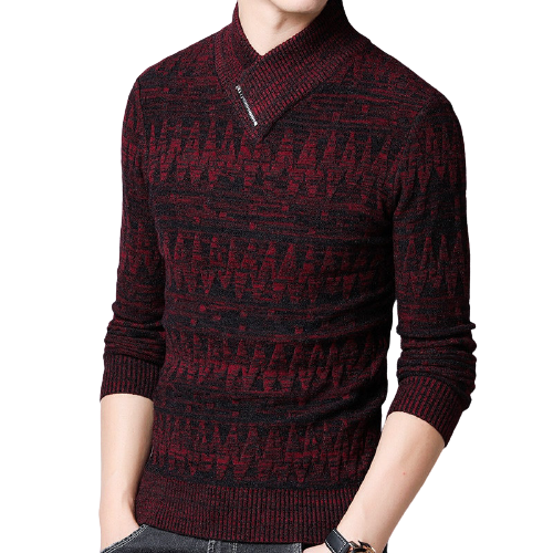 COODRONY Shawl Neck Sweater Men - Wool Pullover
