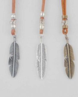 Mens Leather Feather Pendant Necklace