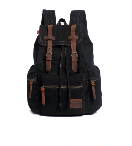 AUGUR High Capacity Canvas Vintage Backpack-black
