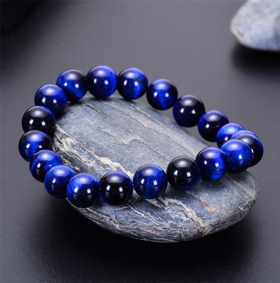Blue tigers eye beaded bracelet