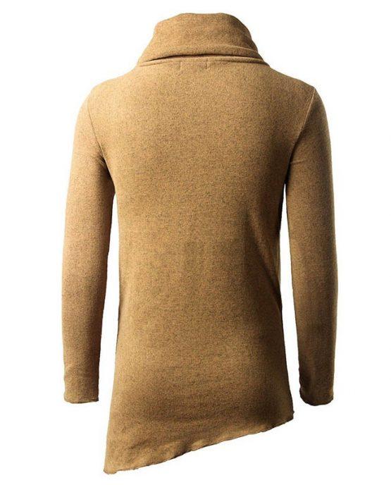 One Pocket Cowl Neck Asymmetrical Sweater