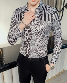 Men's Long-sleeved Leopard Print Shirt, Slim Fit