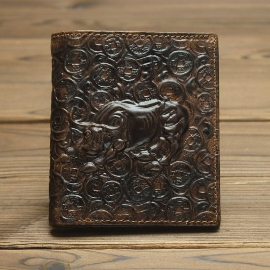 Bull Embossed Mens Genuine Leather Wallets