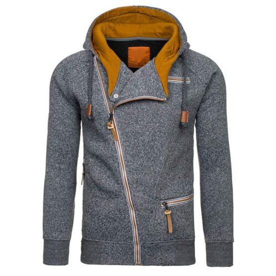 Coodrony Slant Zipper Hooded Sweatshirt