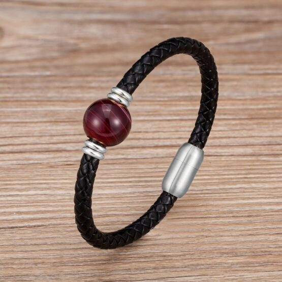 Veralo Stainless Steel And Leather Bracelet