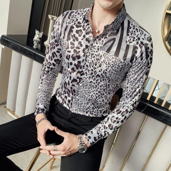 Men's Long-sleeved Leopard Print Shirt, Slim Fit