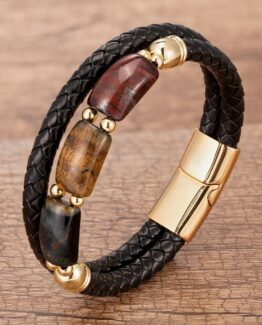 Natural Tiger Eye Stone - Stainless Steel Magnet Clasp