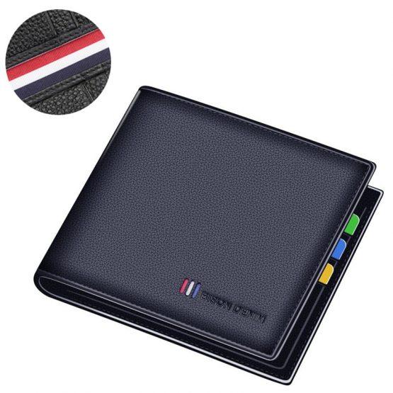 BISON DENIM Leather Men's Wallet - Bifold Card Holder