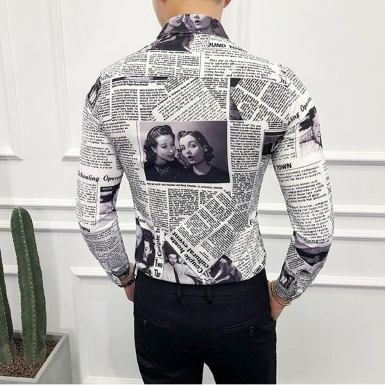 Men's Long-sleeved Newspaper Print Shirt