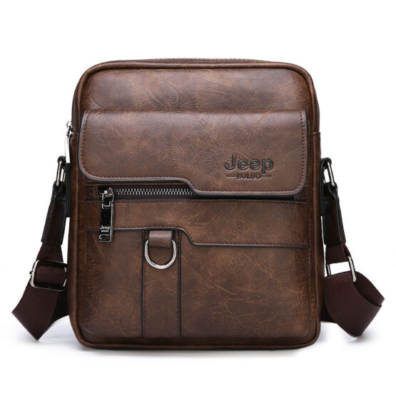 JEEP BULUO Luxury Mens Leather Messenger
