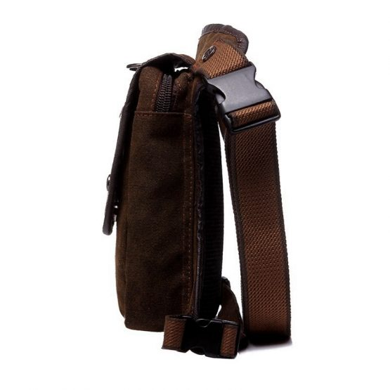 Waterproof Mens Waist bag, Canvas And Leather Travel Bag