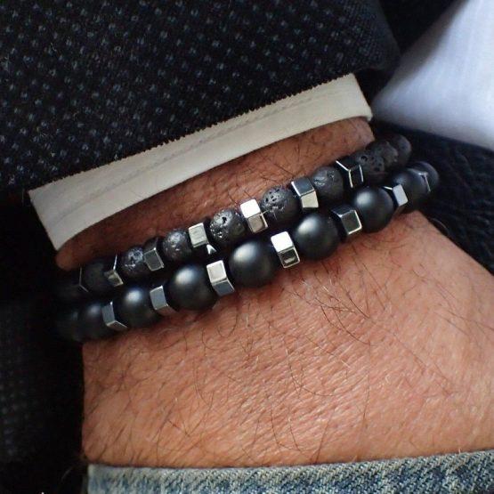 NAIQUBE Stainless Steel Bead Bracelet For Men - 2pcs/set