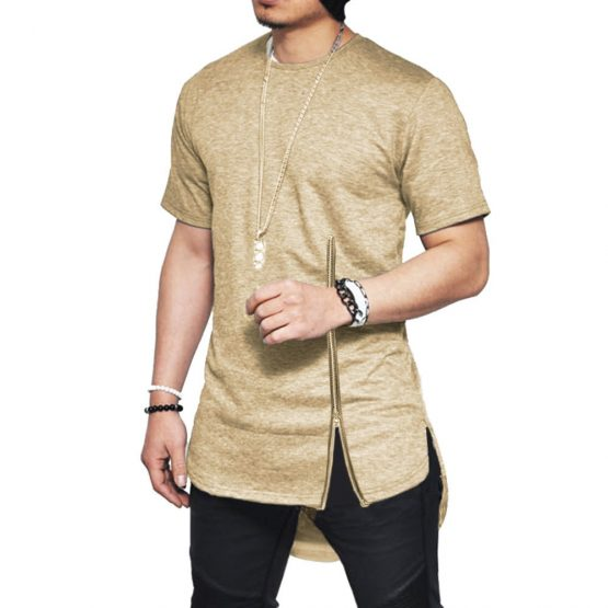 Men Short-sleeved Zip Side Slit T-shirt