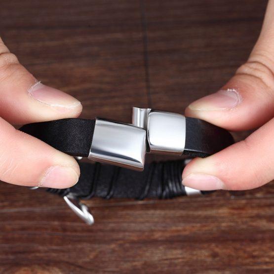 Black Gold Leather Bracelet for Men
