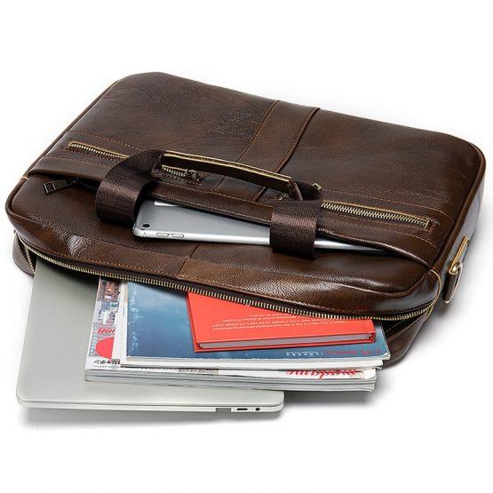 WESTAL Leather Messenger Bag for Men – Padded 14 Inch Laptop Briefcase