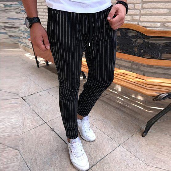 Orlando Men's Striped Pants, Drawstring Trousers