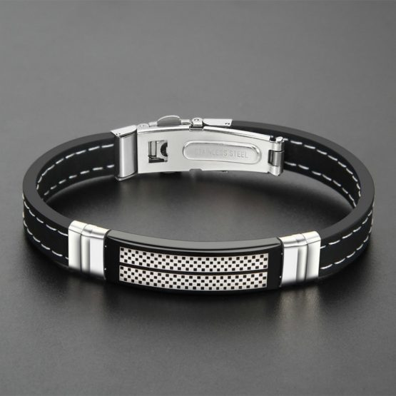 NAIQUBE Mens Stainless Steel Bracelet -Silicone
