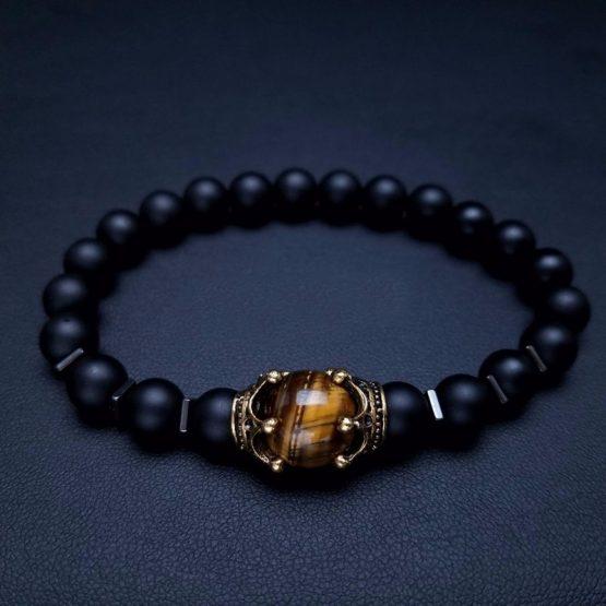 tigers eye mens beaded bracelet