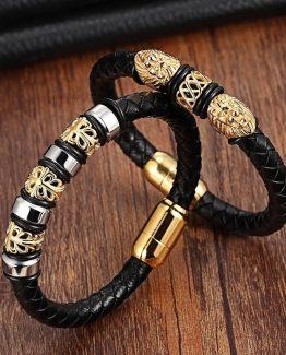 Genuine Leather Stainless Steel Bracelets For Men