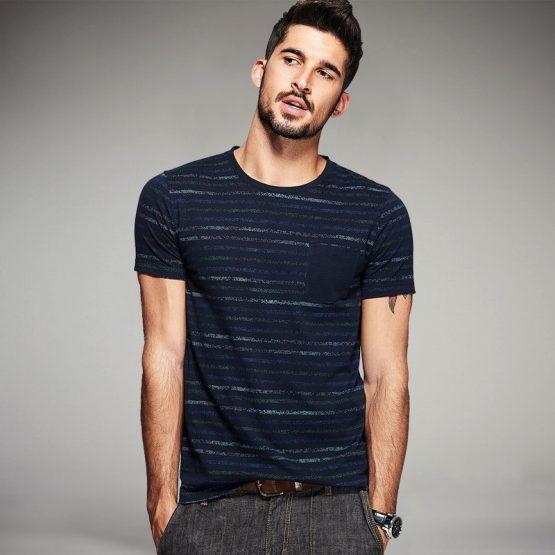 KIngsei Mens Blue Striped T Shirt - Cotton