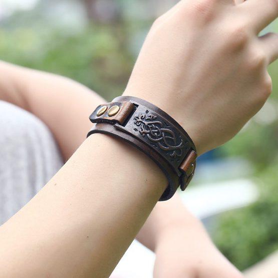 Roman Bronze Mens Leather Bracelet