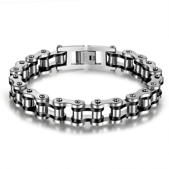 Mens Stainless Steel Biker Bracelet